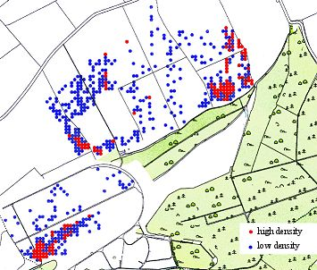 distribution of slag finds at Wakerley